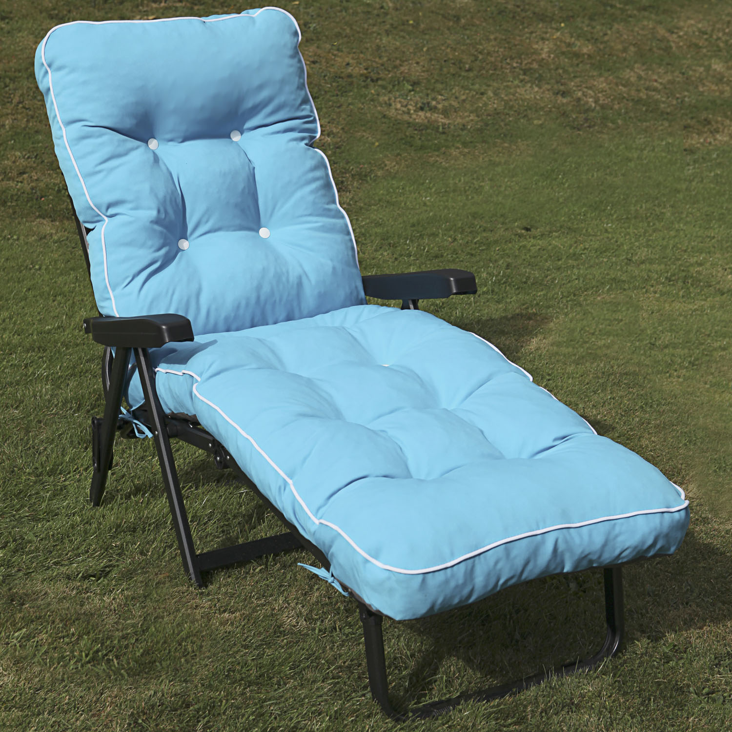example of a maui reclining bed sun lounger grey frame with padded