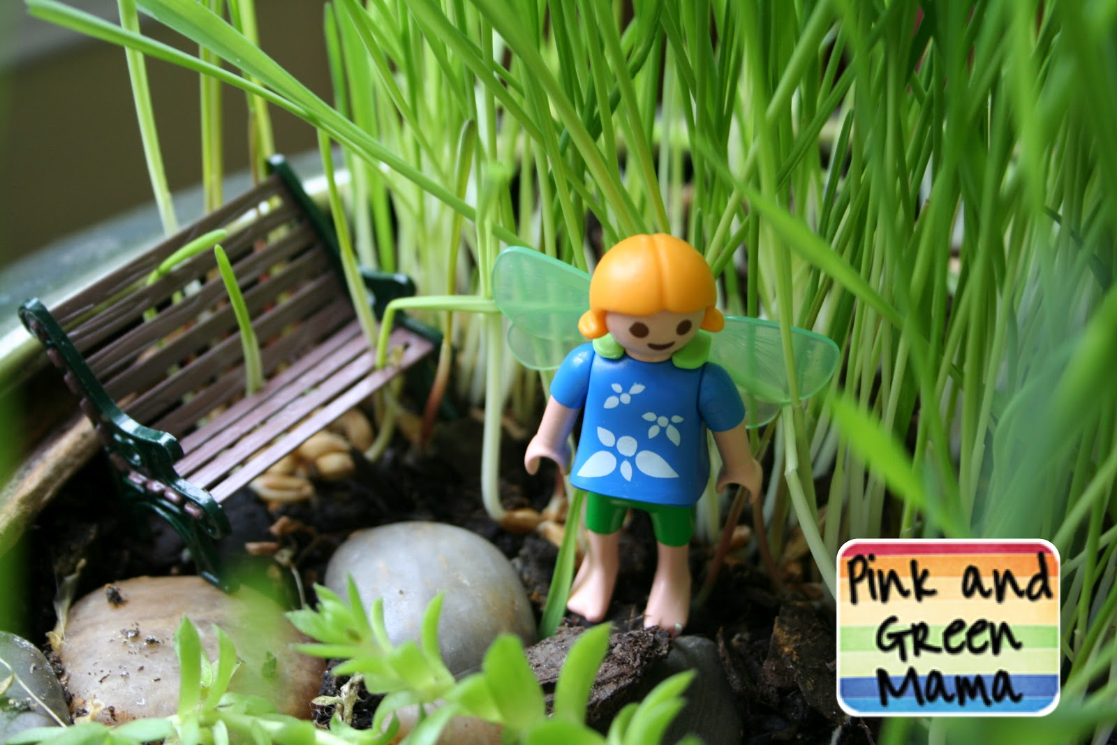 example of a pink and green mama   indoor cat fairy garden