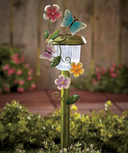 Example Of A Solar Path Light Butterfly Flower Stake Statue Lawn Yard Medium