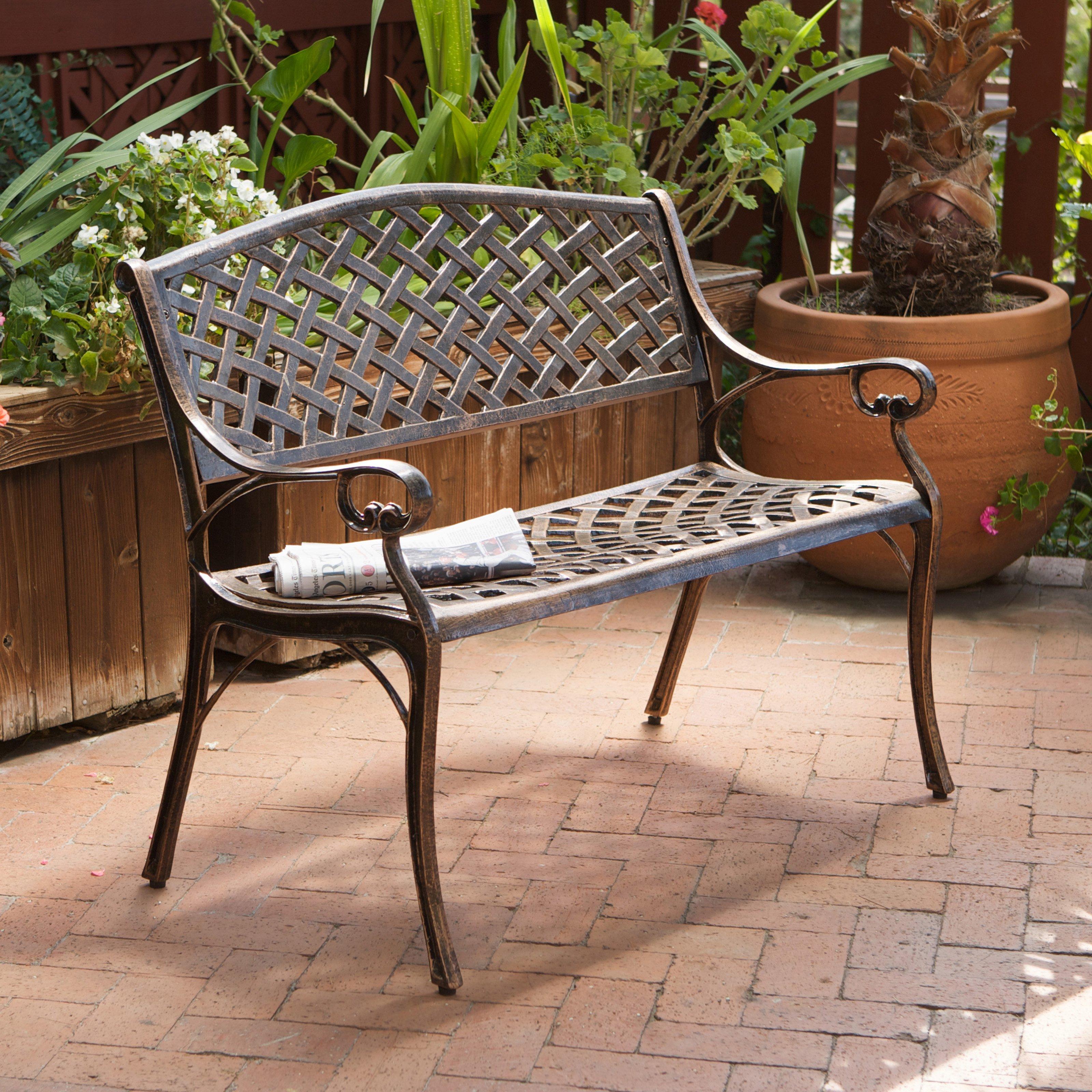explore cast aluminum antique copper arched back bench outdoor