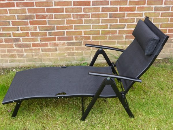 Explore Garden Sun Lounger Chair Black Multi Position Recliner Medium