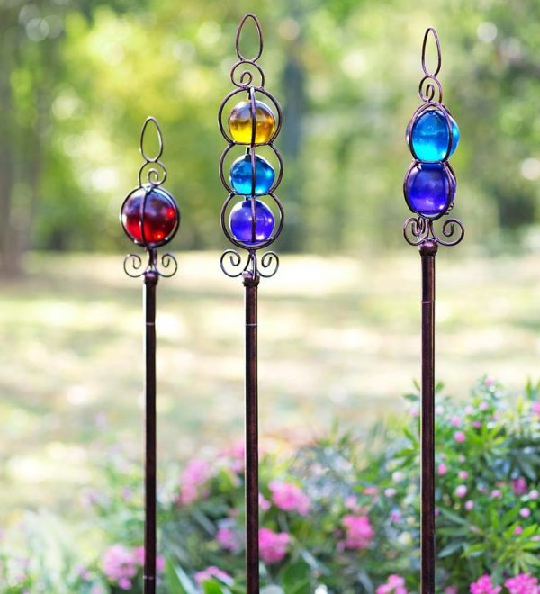 Explore Glass Ball Garden Stakes Set Of 3decorative Garden Medium