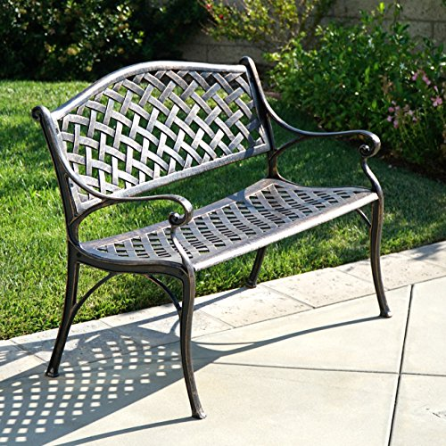 Fresh Belleze Outdoor Patio Furniture Garden Bench Cast Aluminum Medium