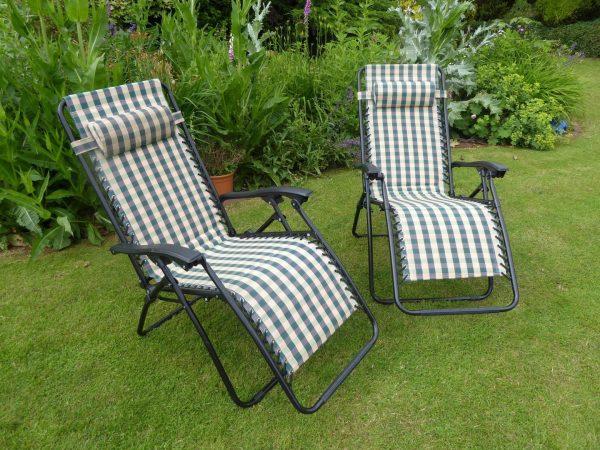 Fresh Garden Chair Set Of 2 Padded Green Check Sun Lounger Medium