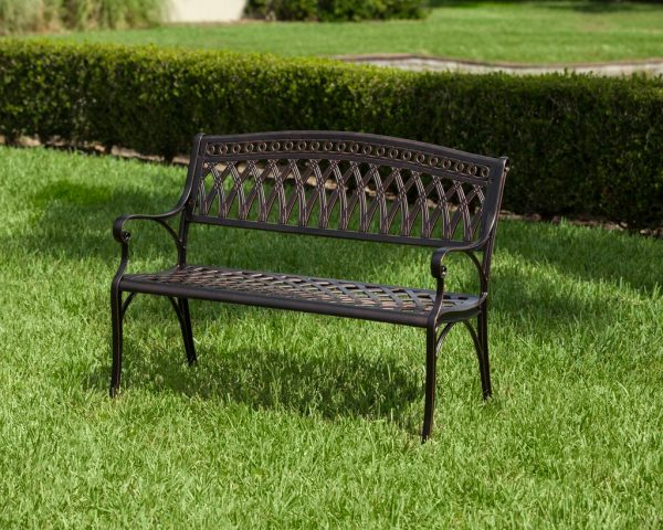 fresh simone cast aluminum patio bench medium