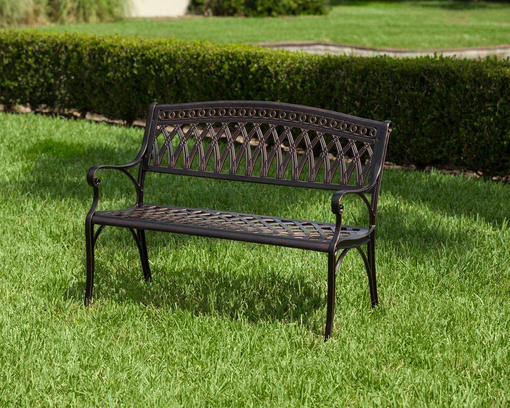 fresh simone cast aluminum patio bench