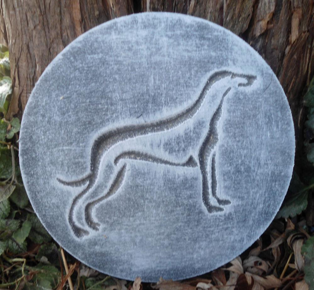 innovative plastic plaque mold dog greyhound decorative stepping