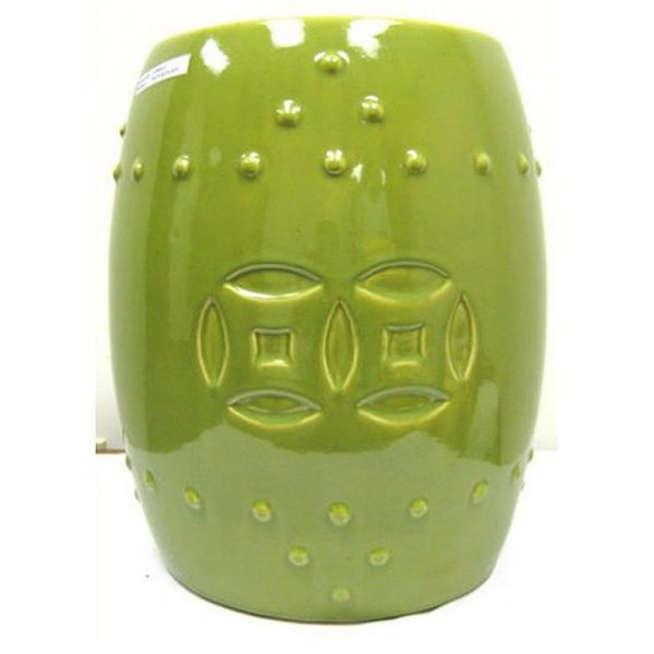 Inspiration Double Coin Lime Green Ceramic Garden Stool Free Medium
