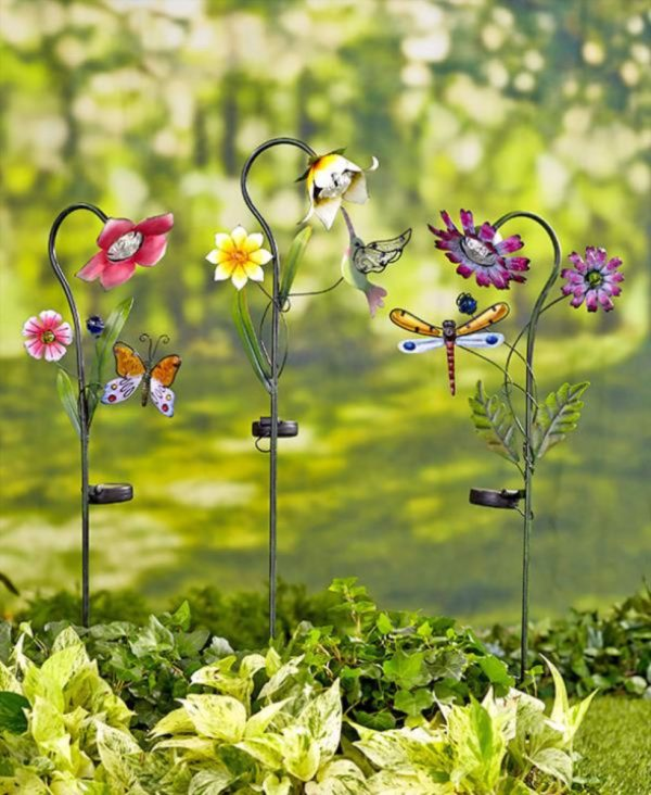 Inspiration Solar Powered Flower Garden Stakes Light Yard Lawn Decor Medium