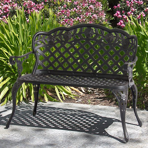 Our Favorite Patio Garden Bench Cast Aluminum Outdoor Garden Yard Solid Medium