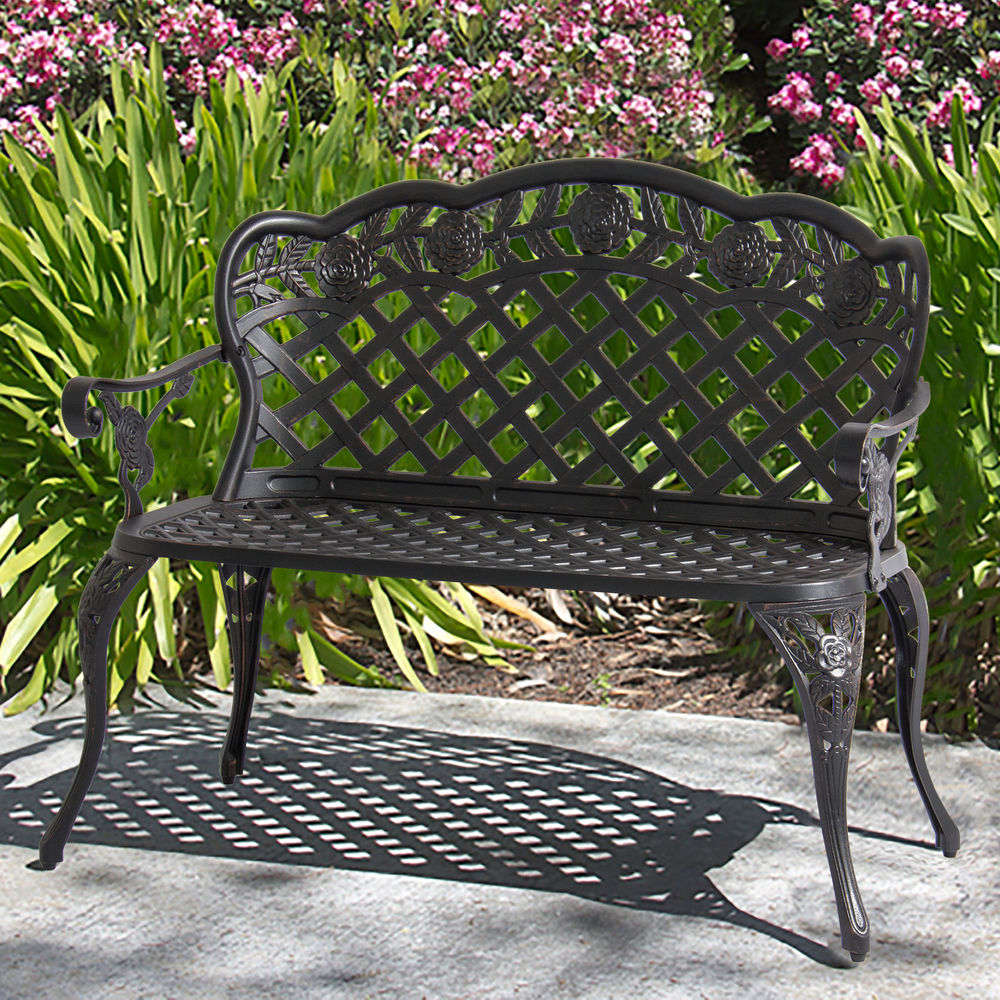 our favorite patio garden bench cast aluminum outdoor garden yard solid