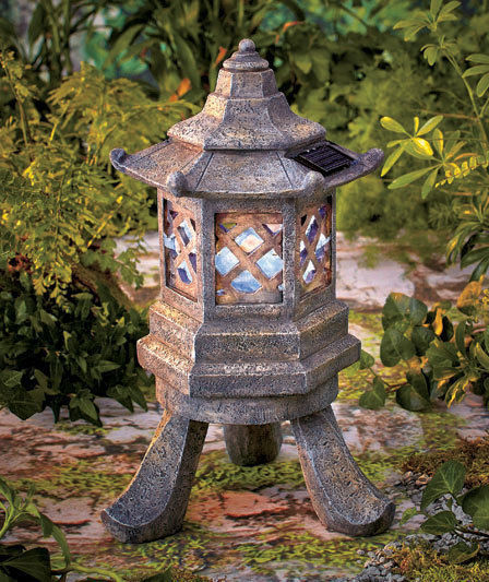 Our Favorite Solar Lighted Hexagon Pagoda Garden Statue Yard Sculpture Medium