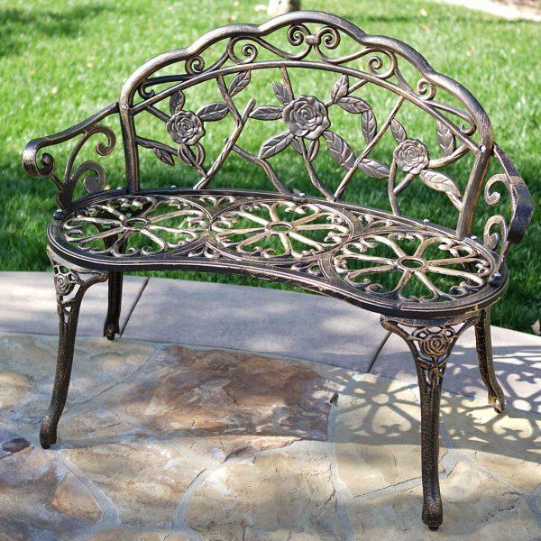 Popular New 39 Antique Design Style Patio Porch Garden Bench Cast Medium