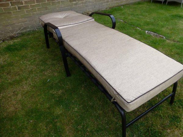 Popular Set Of 2 Beige Luxury Garden Sun Lounger Chair With Deep Medium
