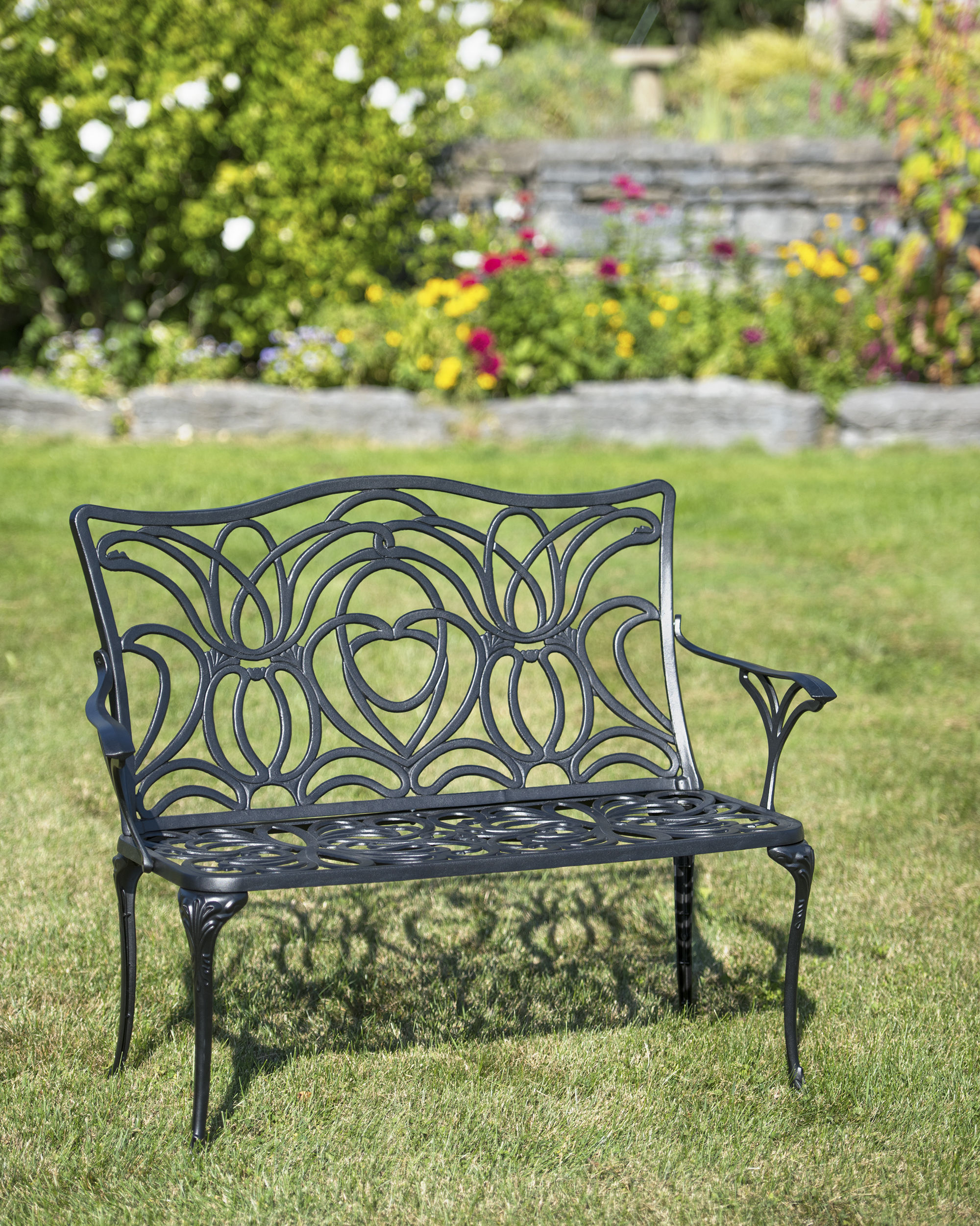 popular tulip bench aluminum garden bench black metal outdoor