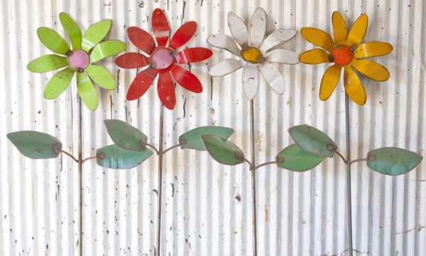 Search Recycled Metal Colorful Flower Garden Stakes Yard Decor Medium