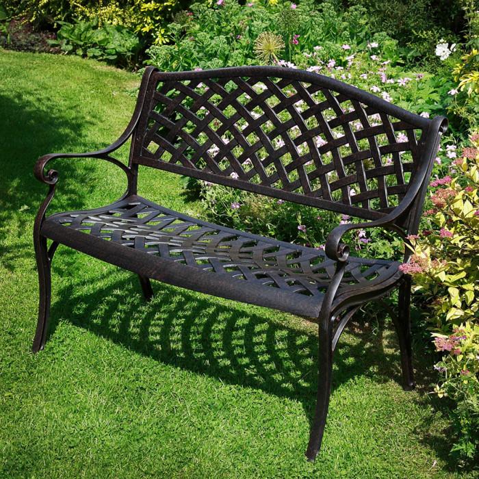 simply jasmine metal lattice garden benchlazy susan