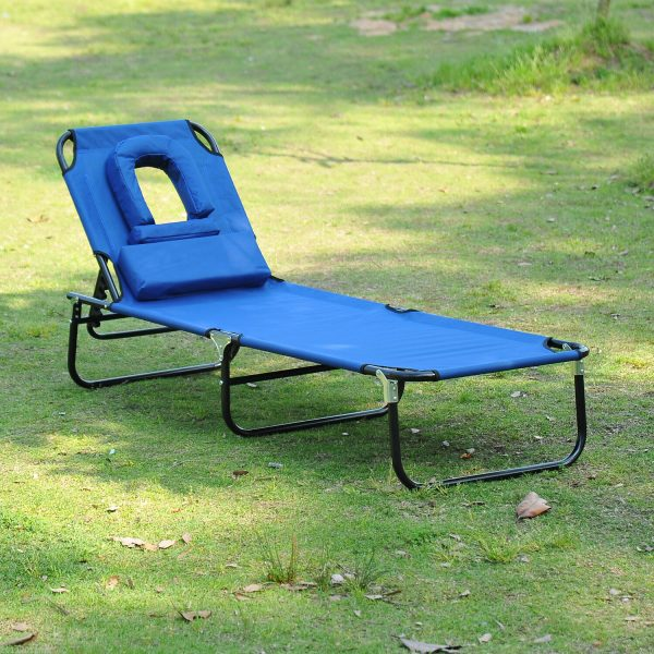 Tips Outdoor Lounge Chair Portable Folding Garden Sun Lounger Medium