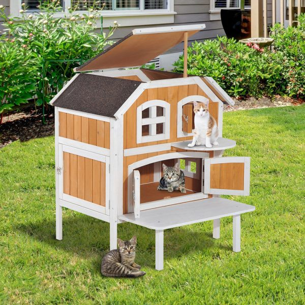 Top 2story Wooden Raised Elevated Cat Cottage Pet House Medium