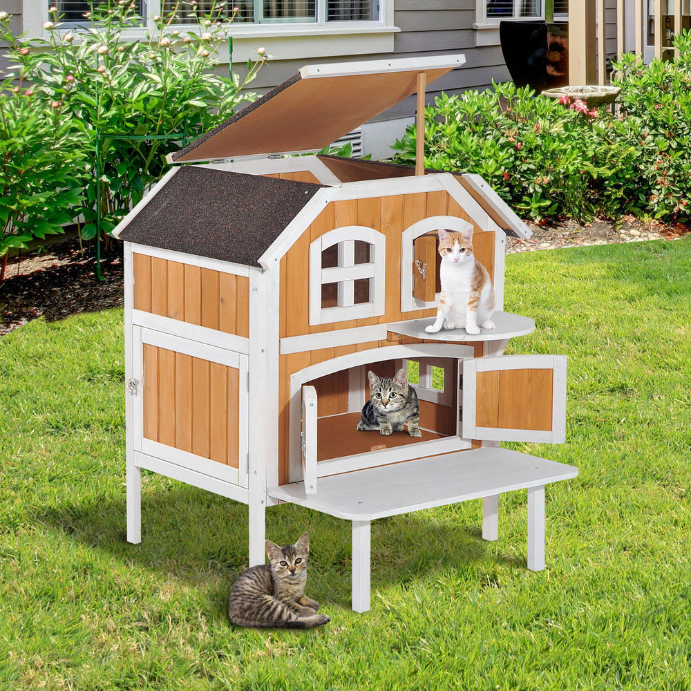 top 2story wooden raised elevated cat cottage pet house