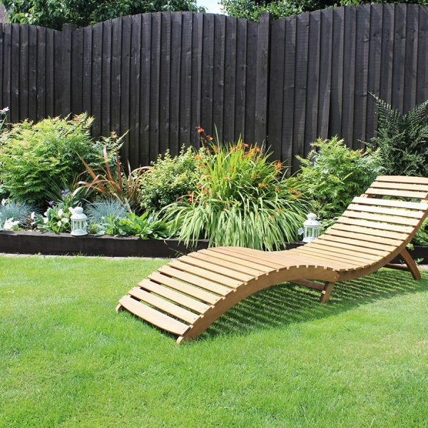 Top Charles Bentley Garden Large Folding Curved Reclining Medium