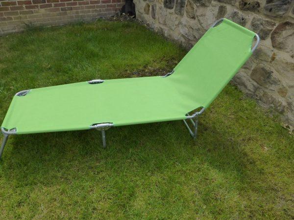 Top Green Flat Folding Multi Position Garden Sun Bed Lounger Medium