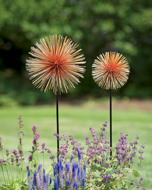 Top Metal Flowers Set Of 2 Allium Sunburst Stakes Medium