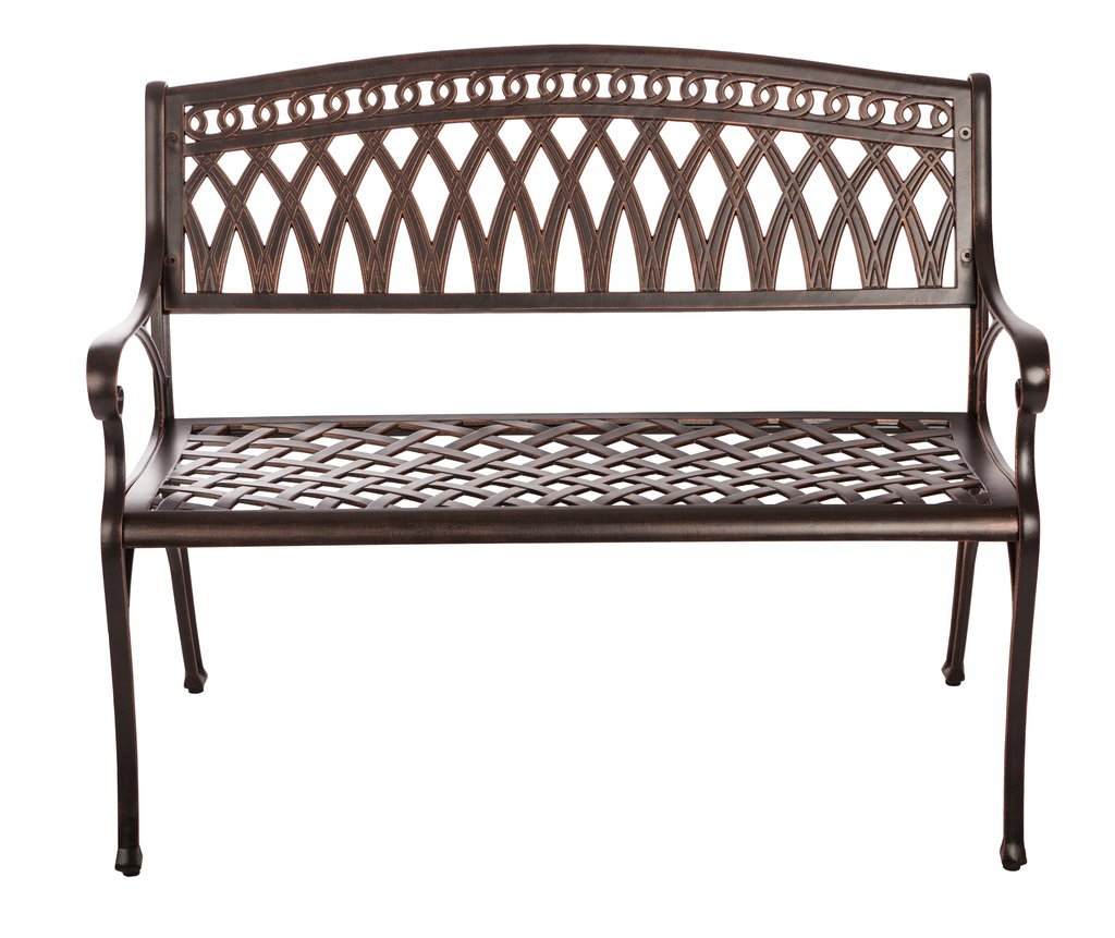 we share simone cast aluminum patio bench