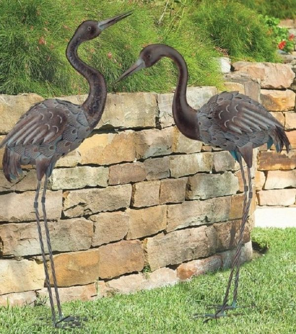 Best Bronze Crane Pair Metal Garden Statues Mystical Bird Yard Medium
