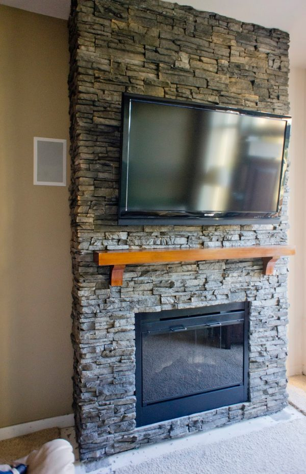 Best Hirondelle Rustique Diy Stacked Stone Fireplace First Medium