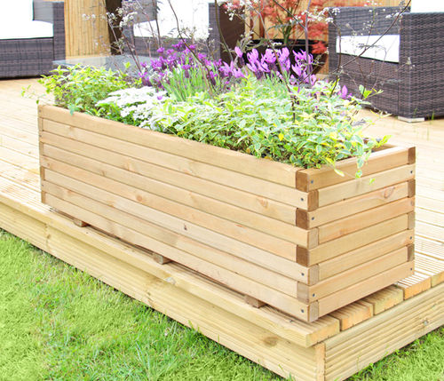 Best Raised Trough Wooden Garden Planter Pine Flower Bed Plant Medium