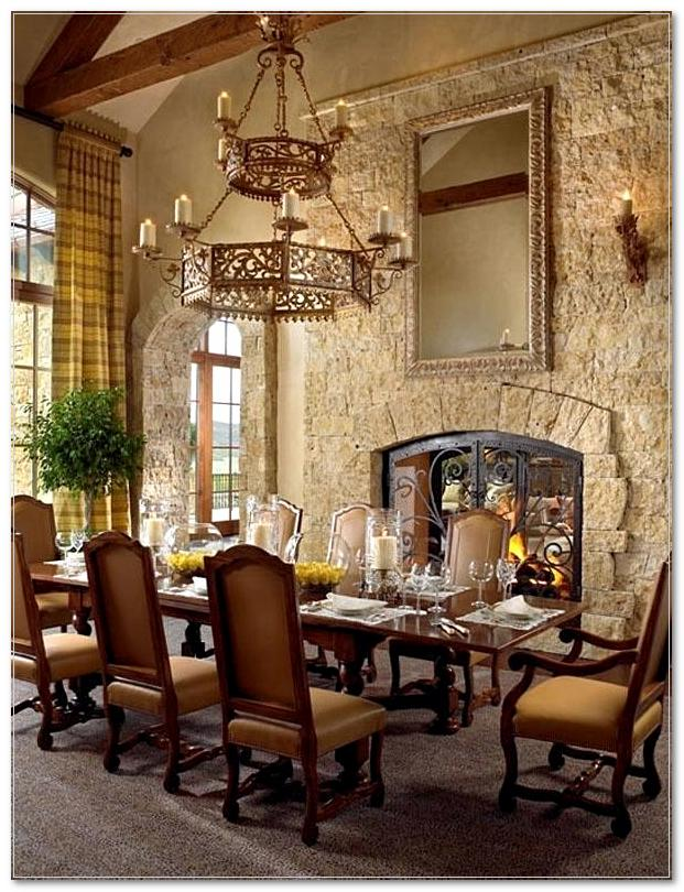 best rustic dining room tuscan decor stone wall fireplace solid