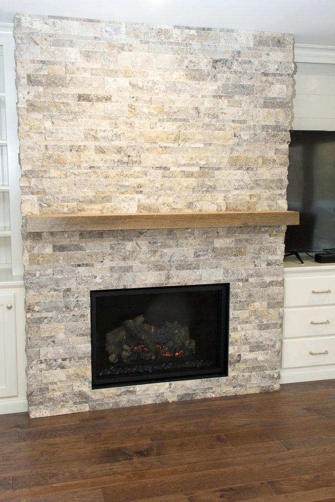 best silver travertine fireplace heat with silver stacked stone