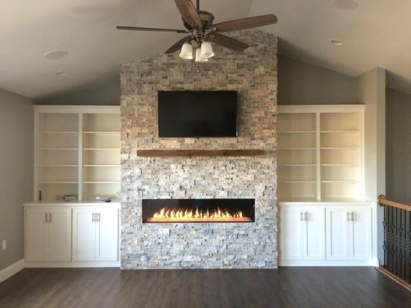 Bore Silver Travertine Fireplace Heat With Silver Stacked Stone Medium