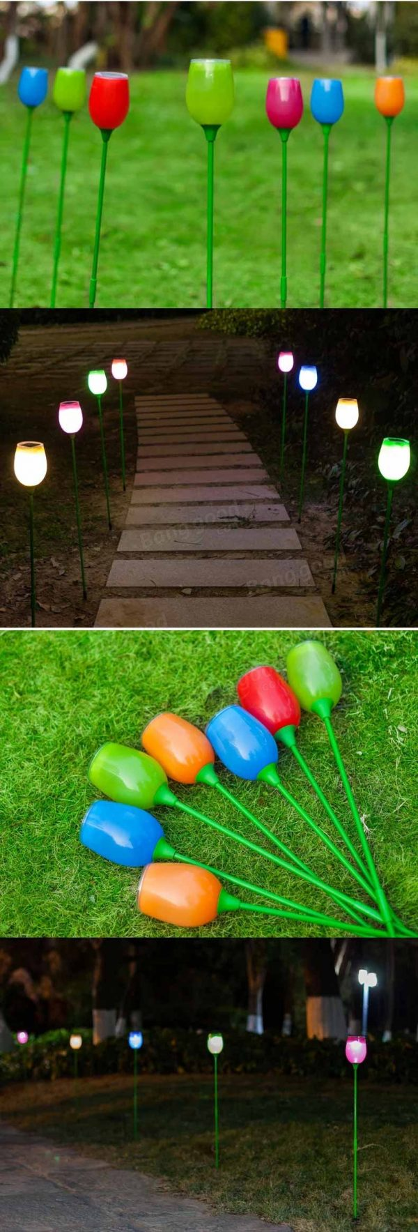 Bore Solar Power Outdoor Tulip Colorful Led Lamp Garden Medium