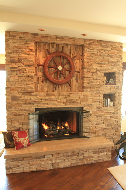 bore travertine fireplace traditional living room los