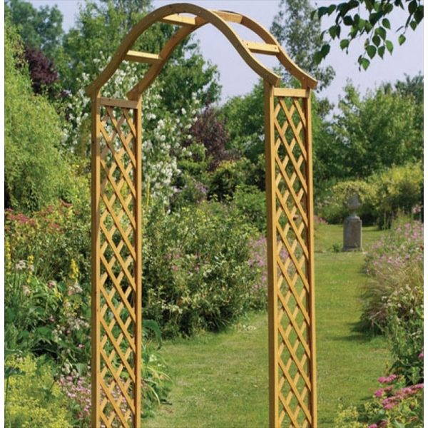 Browse Elegance Wooden Garden Arch Tan The Garden Factory Medium
