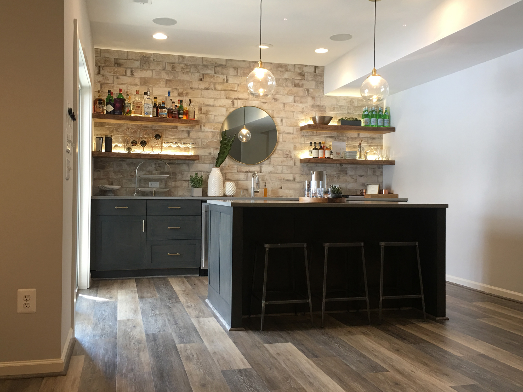 browse photos of wet bars in basement remodels