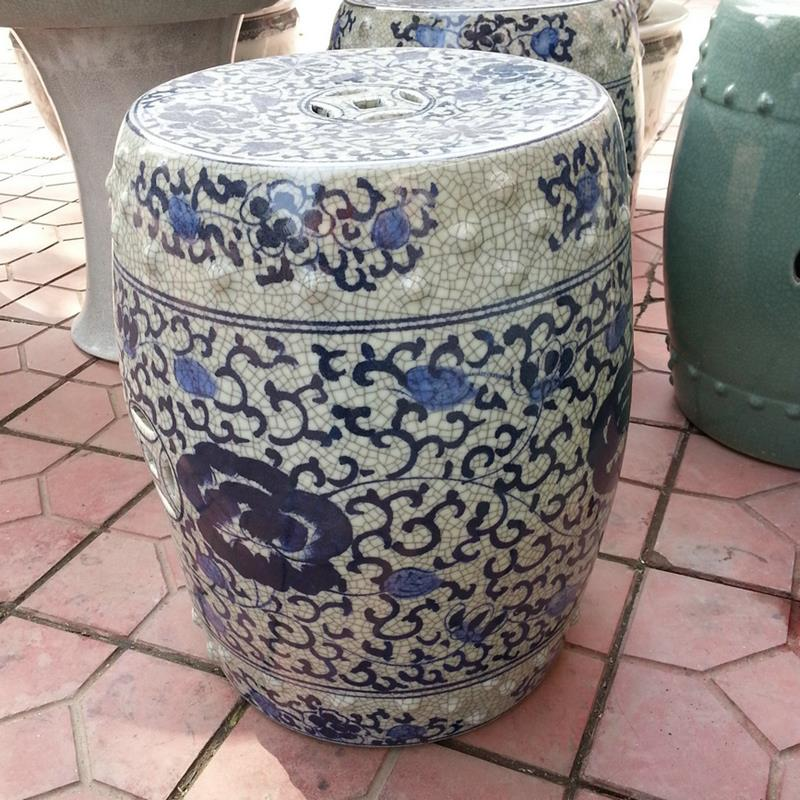 browse ryhd22 h16inch blue and white flower crackle ceramic