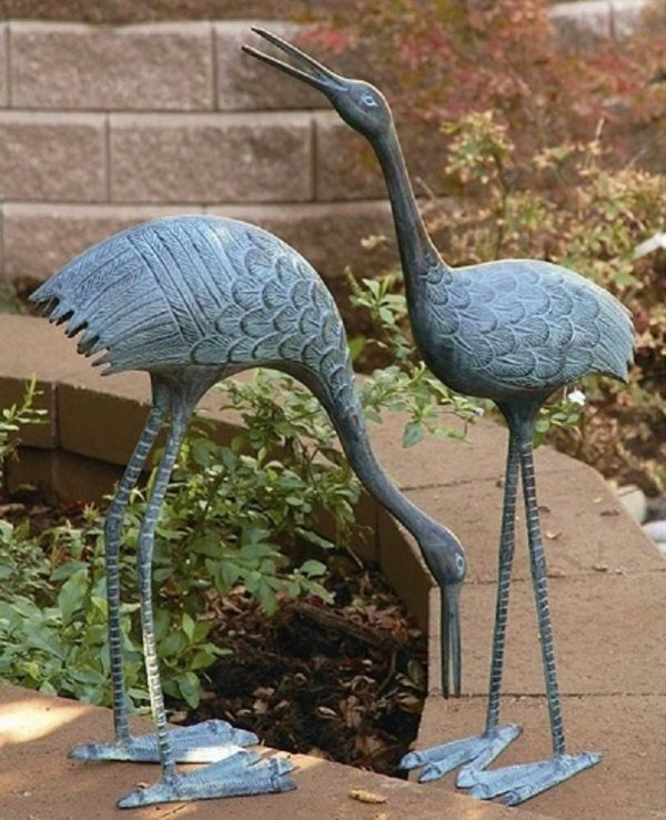 Clever Brass Courting Crane Garden Pair Sculptures Stately Medium
