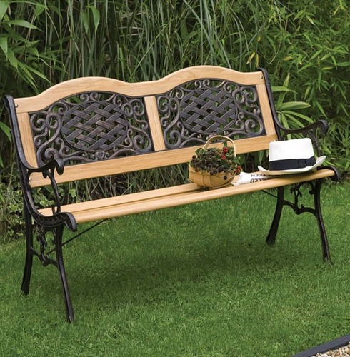 Clever Mississippi Wood Metal Resin Bench The Garden Factory Medium