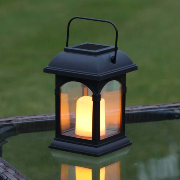 Collection Black Solar Candle Lantern Flickering Amber Led 15cm Medium