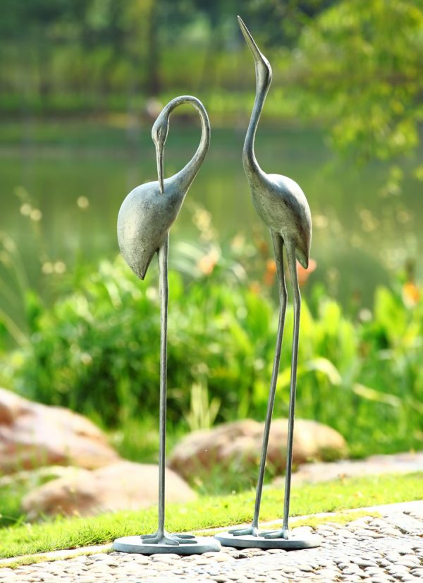 Collection Contemplative Garden Crane Statue Pair Spisanpacific Medium