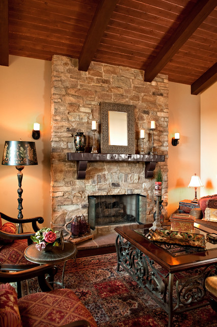 Collection Rustic Stone Fireplace Medium