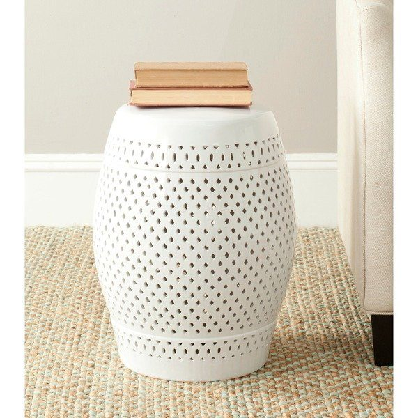 Collection Safavieh Paradise Courtyard White Ceramic Garden Stool Medium
