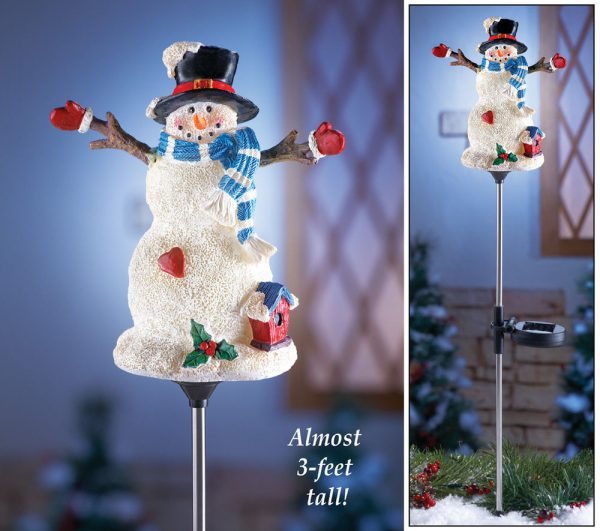 Collection Solar Power Lighted Holiday Snowman Garden Stake Christmas Medium
