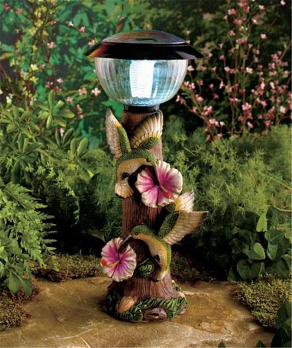 Creative Butterfly Or Hummingbird Solar Lighted Garden Tree Stump Medium