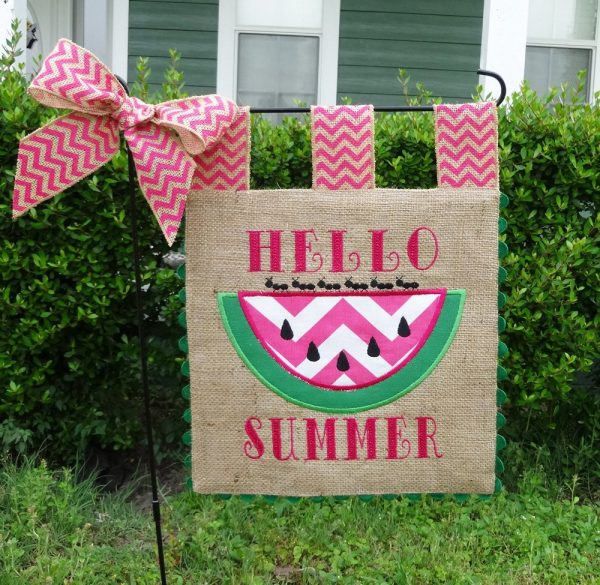 Custom Burlap Garden Flag Hello Summer Embroidery Applique Medium