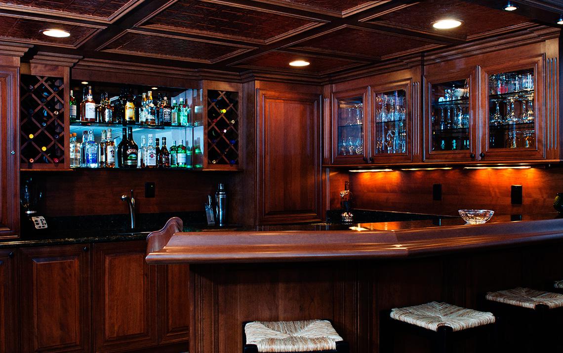 example of a basement bars custom wood creations
