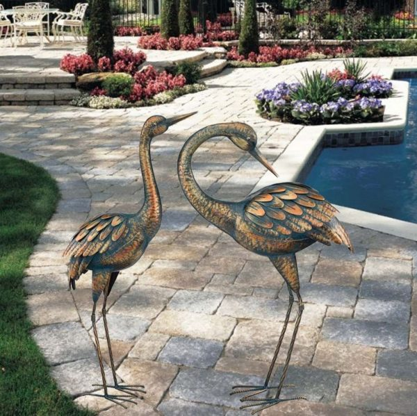 Example Of A Copper Patina Crane Garden Stake Metal Yard Art Lawn Bird Medium